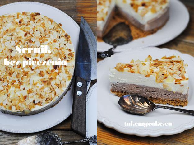 Sernik bez pieczenia z mleczną i białą czekoladą