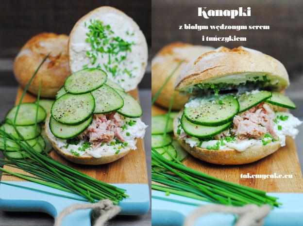 Kanapki z białym wędzonym serem i tuńczykiem