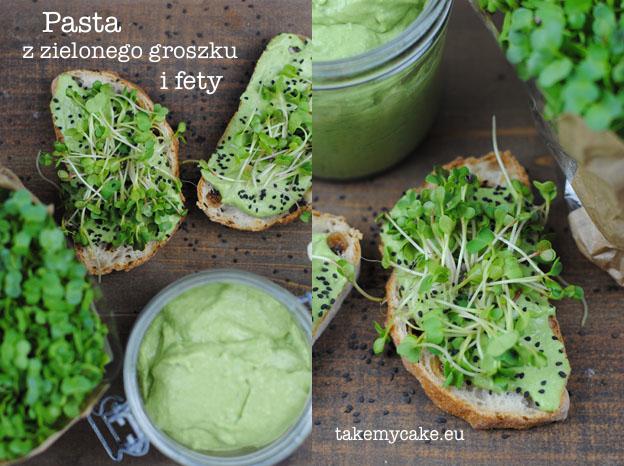 Pasta z zielonego groszku i fety