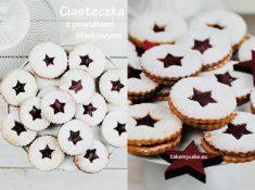 Ciasteczka z powidłami śliwkowymi i cukrem pudrem